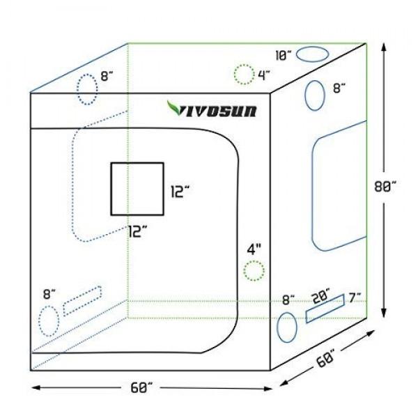 VIVOSUN 60x60x80 Mylar Hydroponic Grow Tent with Observation Wi...
