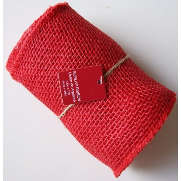 5.5 Inches Wide 15 Feet Long Woven Fabric Burlap Craft Ribbon Roll...