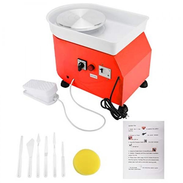 25CM 350W Pottery Wheel Electric Ceramic Work Forming Machine with...