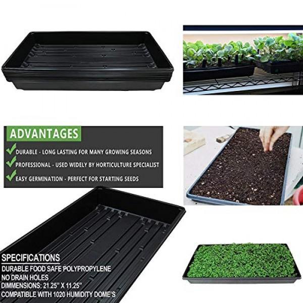 Yield Lab 10 x 20 Inch Black Plastic Propagation Tray - Hydroponic...