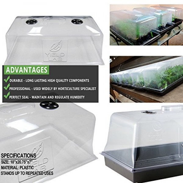 Yield Lab 7 Inch Propagation & Humidity Vented Domes 10 Pack - H...