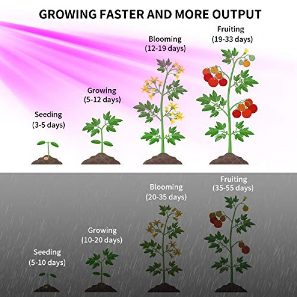 1200W LED Grow Light Full Spectrum, with 120pcs Dual Chips LEDs Do...