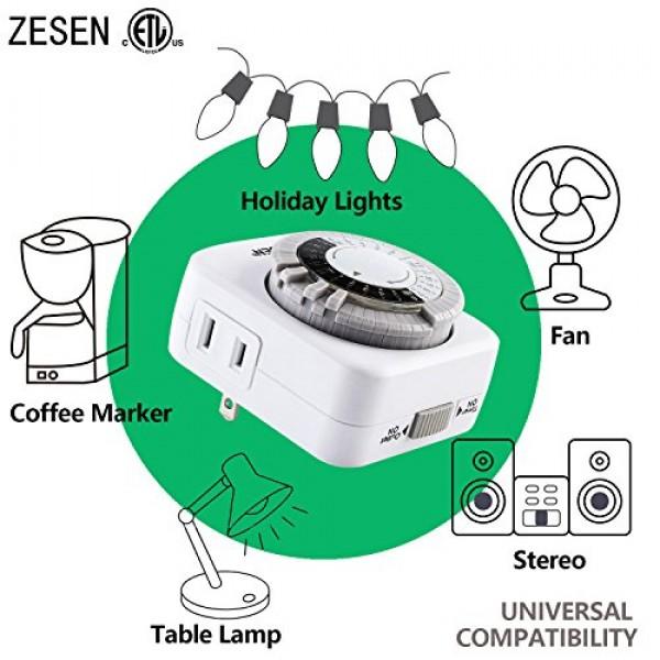 ZESEN 24-Hour Heavy Duty Indoor Plug-In Mechanical Timer, 2 Ground...