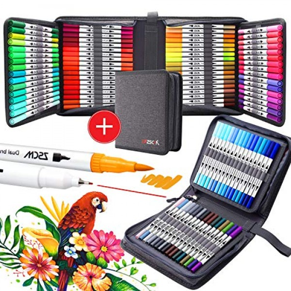 100 Colors Paint Marker Brush Pens, ZSCM Dual Tips Fine Point Wate...